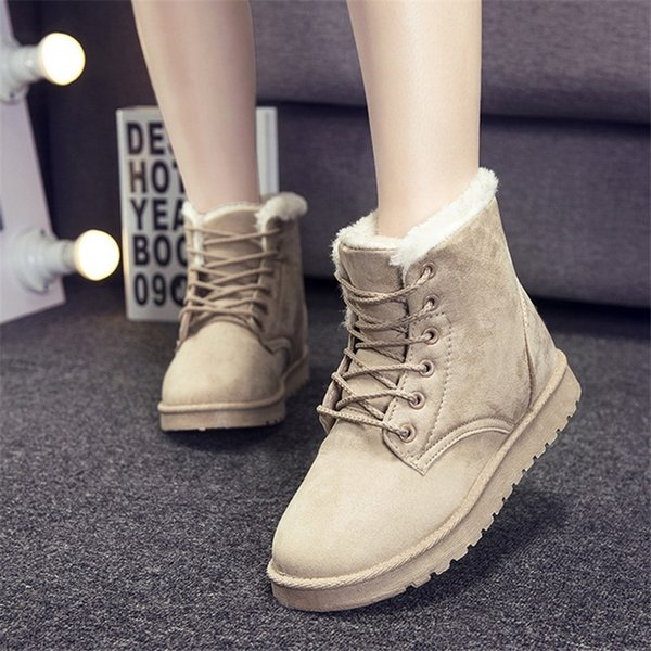 CPX Fur Walking Shoes Winter New Style Snow Boots Street Martin Short Boots Lace-up Foreign Trade L Cotton Shoes Warm -11
