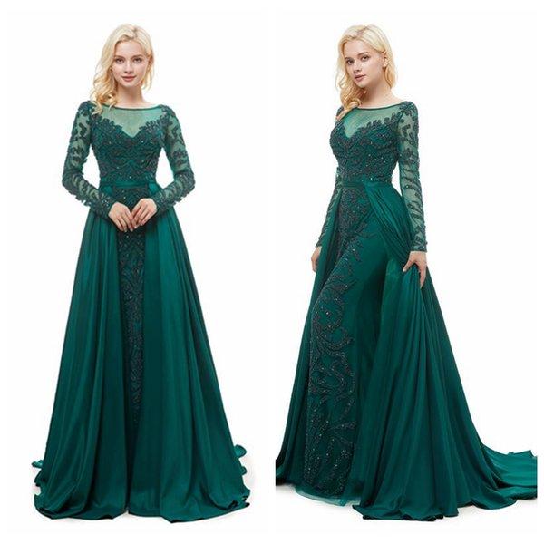 MG007 Scoop Изумрудный платье с Major Бисероплетение длинным рукавом Вечерние платья Vestidos Waterfall Юбка Элегантные вечерние платья