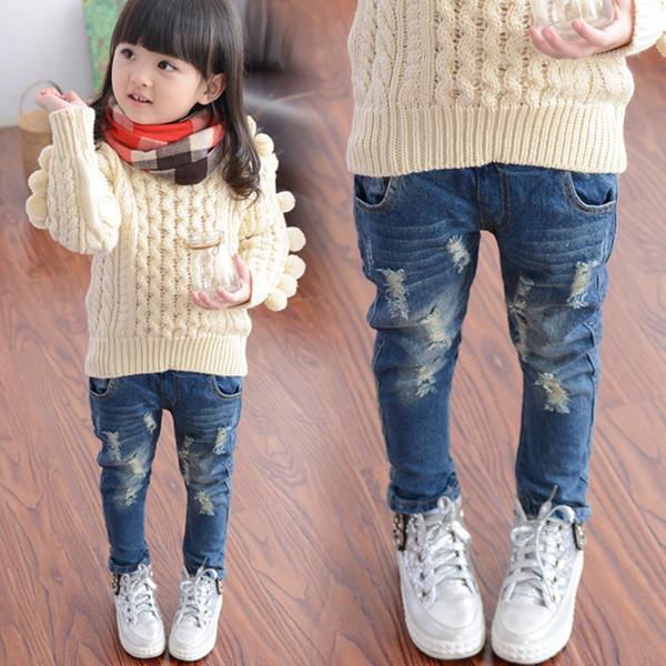 Primavera Primavera e Outono Novo Buraco Jeans Menina Crianças Bebê Calças Velhas Calças Jeans Maré 2-7 8 Idades 3t Jeans Meninas Jeans Rasgado