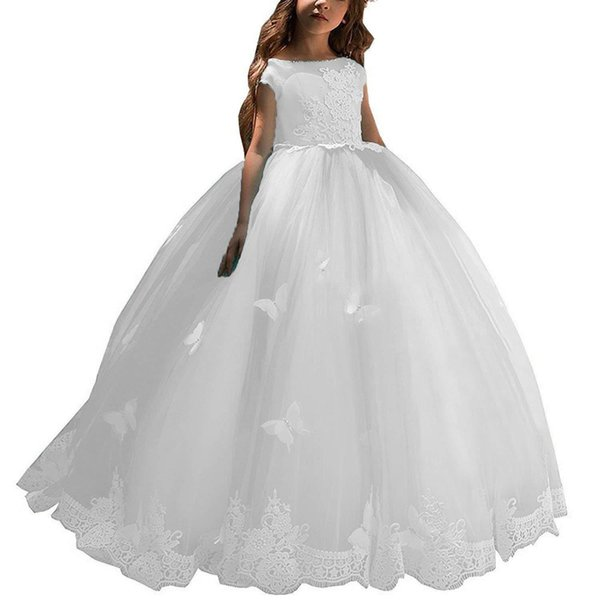New Ball Gown Lace Applique Cute Bridesmaid Girls Toddler Pageant First Communion Formal Occasion Bridesmaid Flower Girl Dress