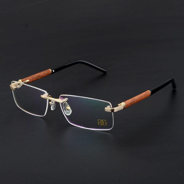 Occhiali da vista da uomo Occhiali da vista senza montatura in legno Occhiali da vista in lega di titanio Occhiali da vista ottici dorati