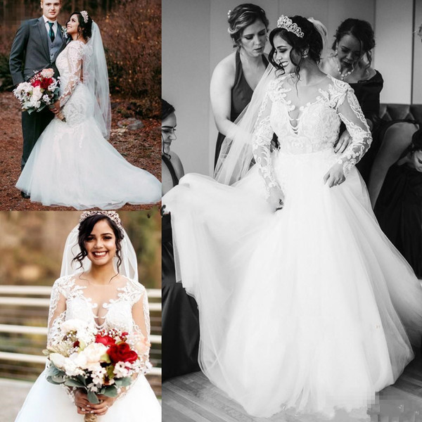 2019 sirena blanca vestidos de novia con falda desmontable de manga larga barrer tren apliques perlas ilusión bodice jardín país vestidos de novia