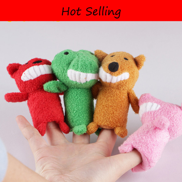 4pcs/lot Story Animal Cartoon Biological Finger Puppet Plush Toys Baby Cloth Educational Hand Finger Dolls Free Shipping