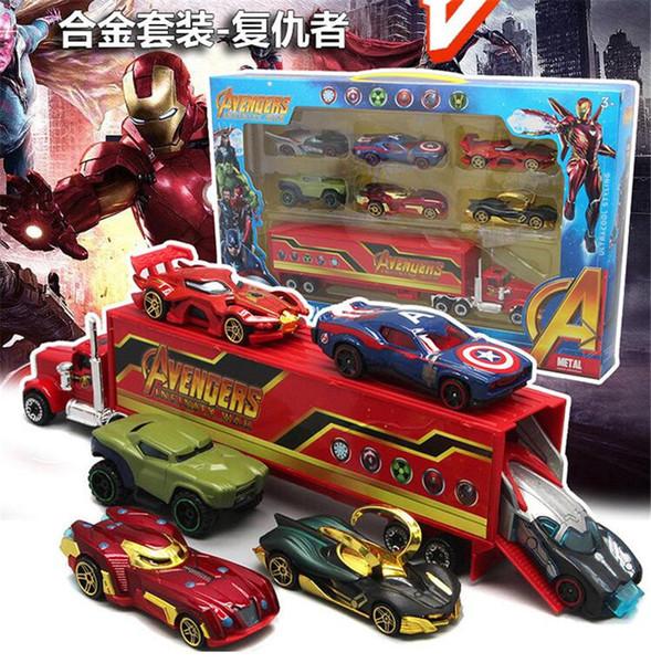 The Avengers Racing Set Combinaison de bande dessinée créative alliage voiture d'enfant jouet Batman Superman modèle de voiture de sport cadeau pour enfants
