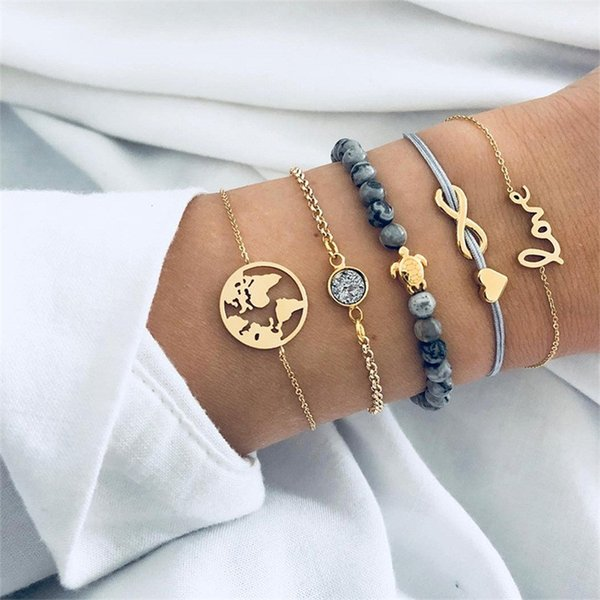 5 Pcs Punk Infinity 8 Word Turtle Map Heart Letter Love Crystal Bead Chain Multilayer Pendant Gold Alloy Handmade Bracelet Set Charm Jewelry