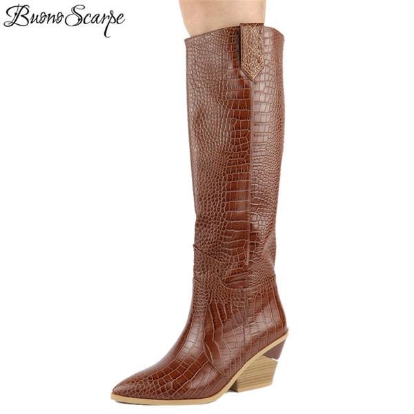 2019 марка женщины сапоги толстые на высоком каблуке колено высокие сапоги мода тиснением женская обувь осень зима коричневое платье Botas