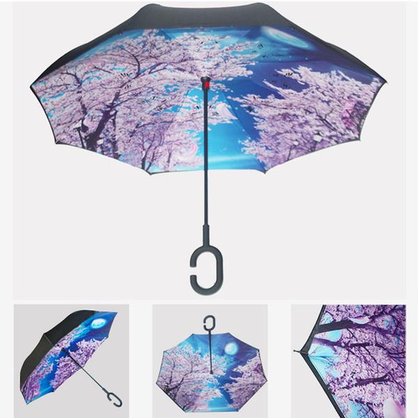 Plegable Tipo C Logotipo personalizado Paraguas Creativo A prueba de viento Protección solar Paraguas portátil Impermeable Paraguas plegable inverso BH0621 TQQ