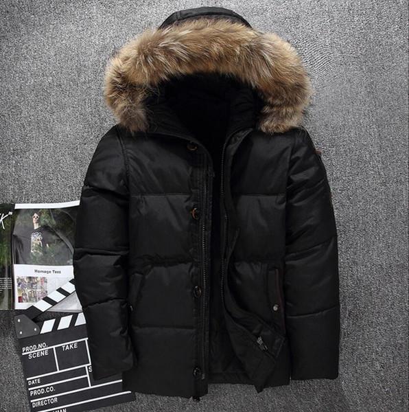 Yeni Kuzey Kış Erkekler Ceket Parka Süper hafif Sıcak Kaz tüyü palto Yumuşak kabuk Şapkalar kalın açık giyim yüz erkek giyim ceketler