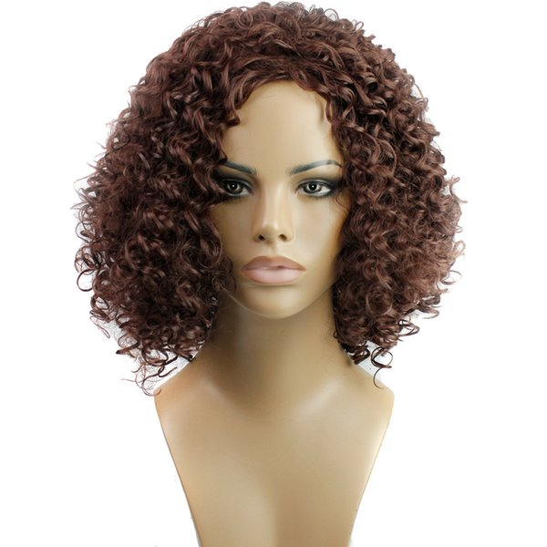 density natural hairline women sprial curls kinky curly synthetic lace wig party wig cosplay festival essentials #1126 wholesale, Brown
