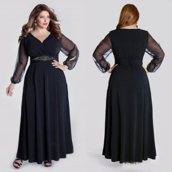 Black Long Sleeve Plus Size Formal Prom Dresses V Neck Crystal Sash Floor Length Evening Gowns A Line Elegant Special Occasion Dress Plus Size Jackets