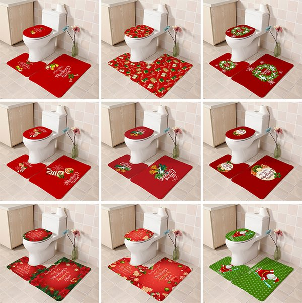 Lovely Santa Toilet Seat Covers Flannel Bathroom Christmas Decorations Indoor Xmas Ornaments 9 Style For Choose Bh19015 Home Decor Christmas Home