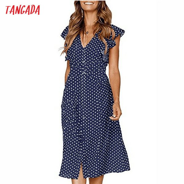 Tangada Polka Dot For Women Office Midi 80s 2019 Vintage Cute A-line Dress Red Blue Ruffle Sleeve Vestidos Aon08 C19041701