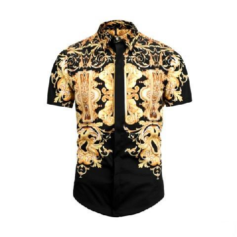 mens versace 2019 весной и осень хлопок рубашки мужчина цветок ретро цветная печать случайных Harajuku VS роскошный мужских рубашек платье ST2 высокого качества