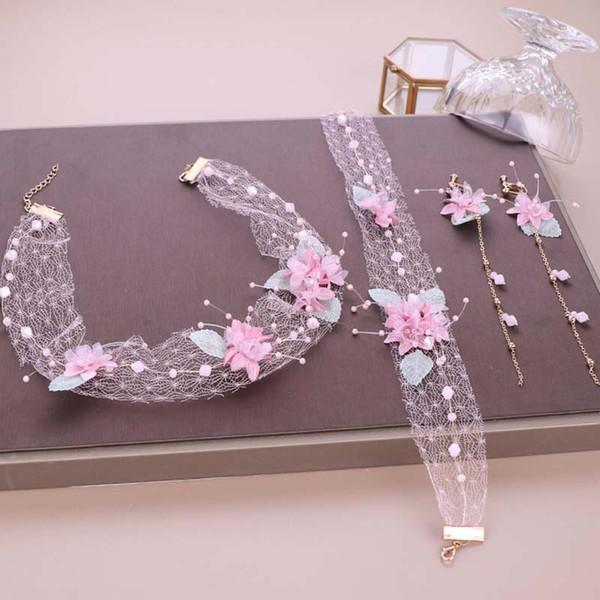 korean sweet pink flower women hairband long tassel earrings set lace necklace tiaras bride wedding hair accessories jewelry set