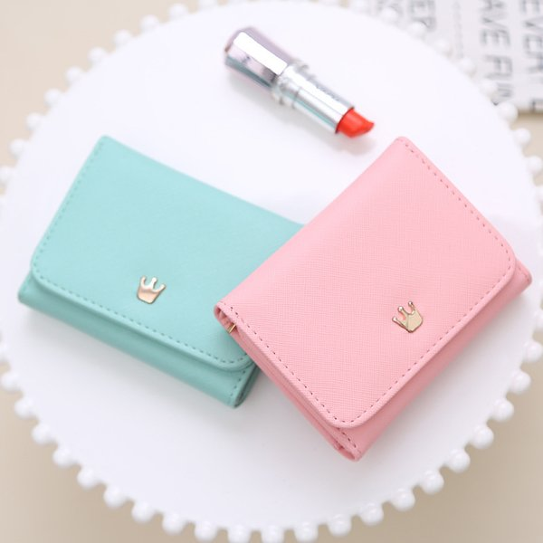 Wallet Women 2018 Lady Short Women Wallets Crown Decorated Mini Money Purses Small Fold PU Leather Female Coin Purse Card Holder