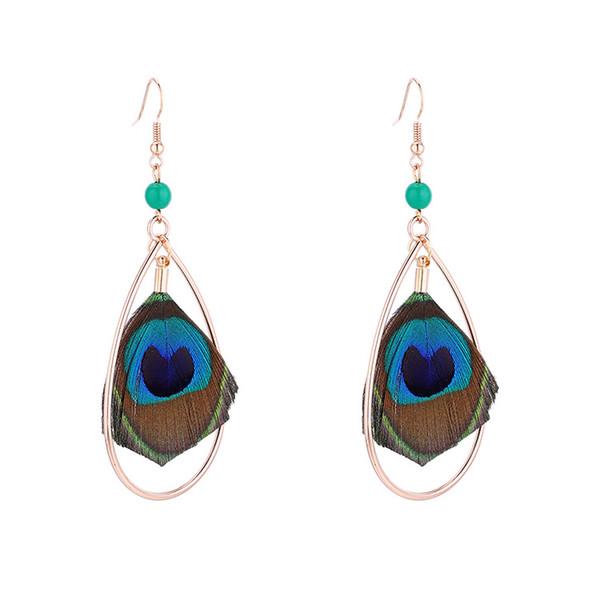 Bohemian beach holiday earrings female handmade folk style retro peacock feather long earrings for fashion girl