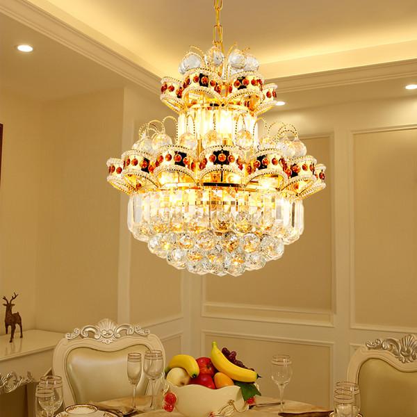Candelabros de lustre de oro LED europeos Moderno restaurante de sala de estar de cristal LED lámpara de araña simple Accesorios de iluminación
