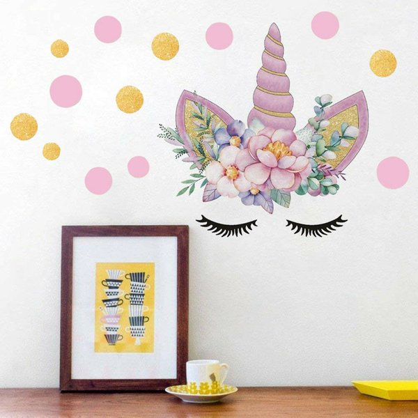 Creative Unicorn Stars Wall Stickers For Girls Bedroom Flowers Wall Decals PT