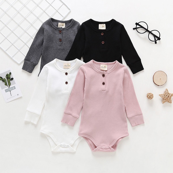 Autumn New INS Toddler Baby Boys Girls Rompers Cotton Long Sleeve Front Buttons Pockets Jumpsuits Newborn Blank Bodysuits for 0-2T