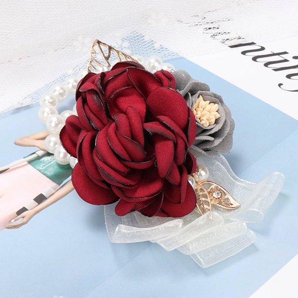 1Pc Bride Bracelets Wedding Silk Bridesmaid Sisters Hand Flowers Wrist Corsage Bouquet Artificial Flowers Dancing Party Decor