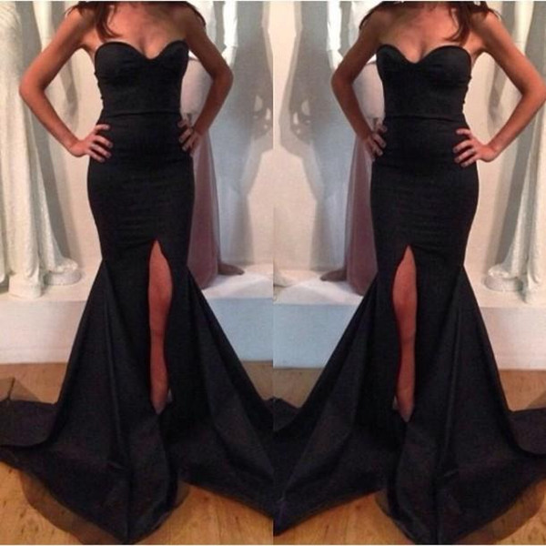 2019 NEW High Quality Mermaid Evening Dresses Real with Sexy Neckline Glamorous Backless High Front Slit Black Satin Prom Dresses