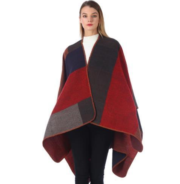 Womens Winter Designer Cape Cardigan V Neck Geometric Print Female Clothing Fashion Style Outerwear Casual Apparel