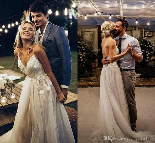 Romantic Bohemian Boho Spaghetti Straps Wedding Dresses Garden Spring Applique Backless Lace Bride Dress Arabic Bridal Ball Wedding Gowns