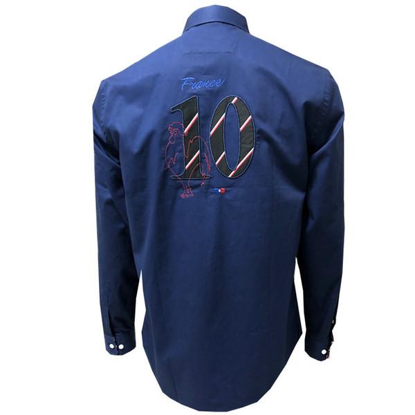 Luxus frankreich marke shirt männer stil gedruckt langarm slim fit lässig mens party dress shirts camisas masculina m-xxl