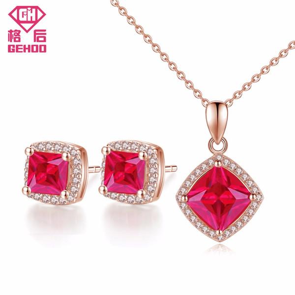 GEHOO Romantico Quadrato rosso rubino ciondolo pavé di zirconi cubici 925 sterling silver donne gioielli set orecchini pendenti con collana