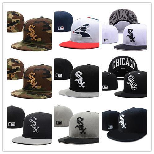 New Hot On Field Weißer Sox-Passformhut Hochwertige flache Krempe gestickter Brief SOX Team Logo Fans Baseball Hüte voll geschlossen