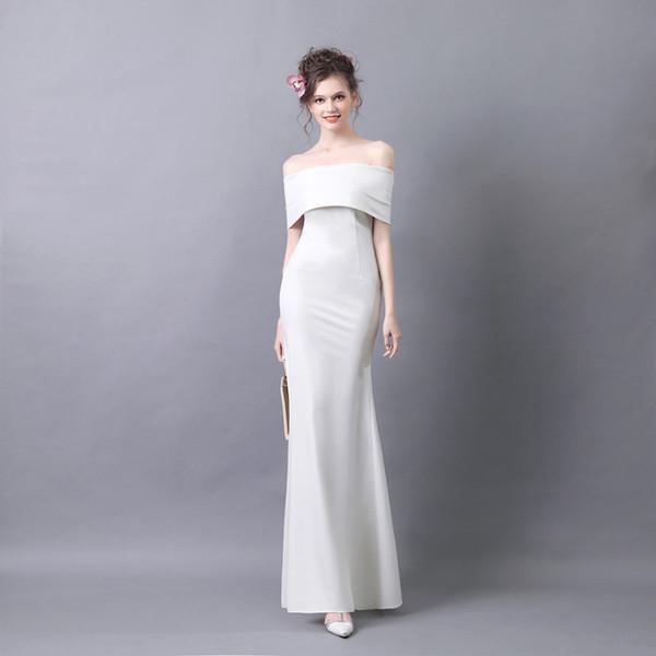 ضئيلة فستان الزفاف ذيل السمكة جديدة في الخريف والشتاء 2019 واحد الكتف مثير مساء اللباس الطويل