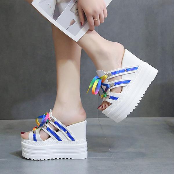 Pantoufles à semelles compensées en dentelle pour femmes - Chaussures de plein air - Pantoufles d'été pour femmes - Pantoufles