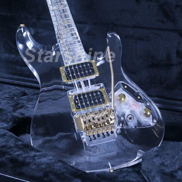 JEG6L029 Full Crystal Electric Guitar S Series Green Led Light Floyd Rose Brige Gold Hardware