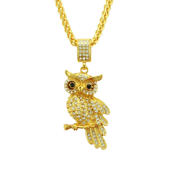 Hip hop animal owl pendant necklace Punk hip hop gold necklace factory direct crystal rhinestone jewelry pendant wholesale for men women