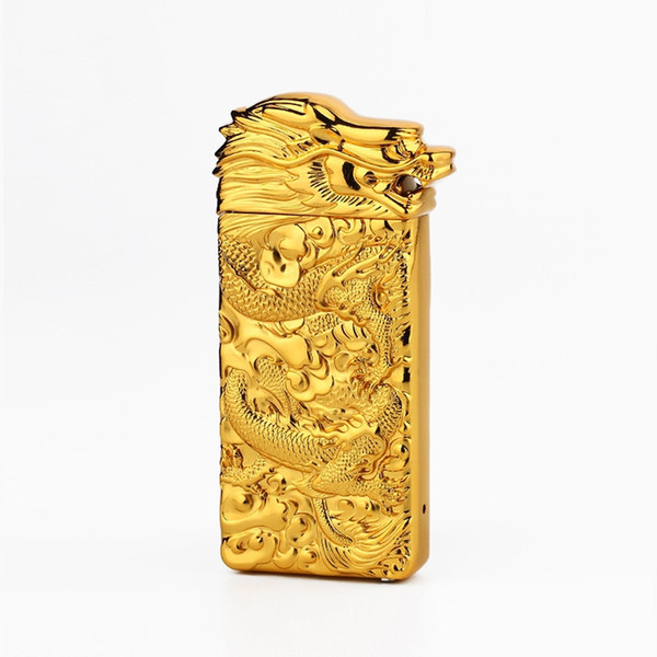 Colorful Zinc Alloy USB Bullion Dragon Head Charging Lighter Innovative Design Cyclic Charging Shake Ignition For Cigarette Smoking Pipe