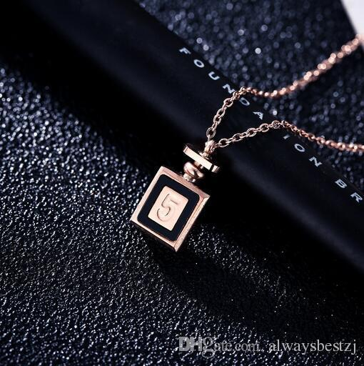 Creative Number 5 Perfume Bottle Pendant Necklace 18K Rose Gold Titanium Clavicle Chain For Women Girl Party Prom Jewelry Gift