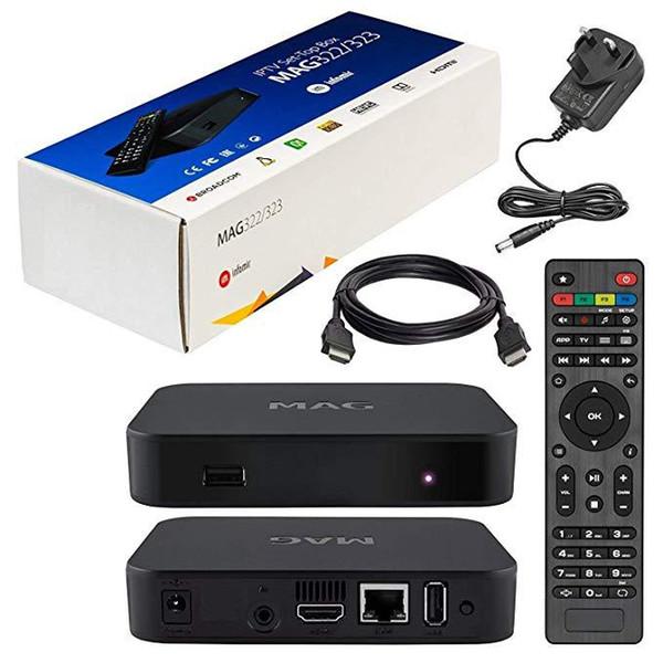 top box MAG322W1 establezca flujos de BCM75839 chipset 512M Linux decodificador HDMI del reproductor multimedia HD H.265 Internet STB MAG322