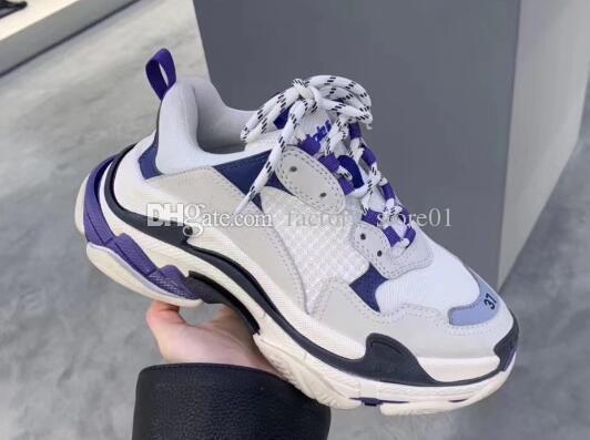 Paris 17FW Moda Lüks Tasarımcı Kadın Ayakkabı Baba Ayakkabı Üçlü S 17FW Erkekler Kadınlar için Sneakers Bahar chaussures Lacivert ...