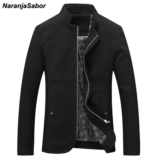 NaranjaSabor Mens Brand Clothing 2019 Spring Autumn Men's Casual Jackets Cotton Outerwear Mens Coats Trench Male Windbreaker 5XLMX190828
