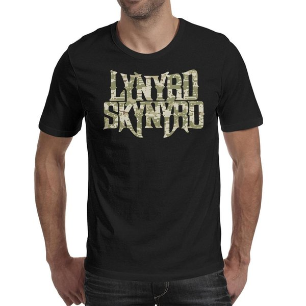 Men design printing Lynyrd Skynyrd rock band Camouflage black t shirt design personalised graphic make a band shirts printed t shirt cre
