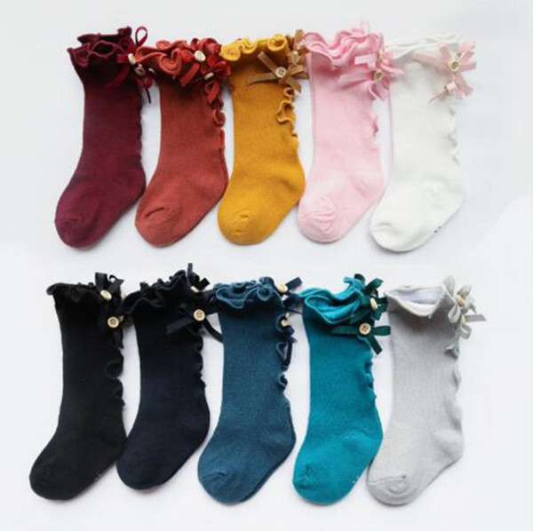Yeni Çocuk Çorap Toddlers Kızlar Büyük Yay Örme Diz Yüksek uzun Yumuşak Pamuk Dantel bebek Çorap Çocuklar kniekousen meisje Bebek Kız Çorap