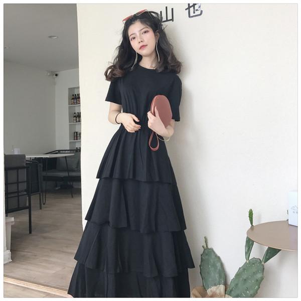 Summer 2019 Large Size Women Clothes Short Sleeve T-shirt Women Folded Cream Skirt Top Dress Long Skirt