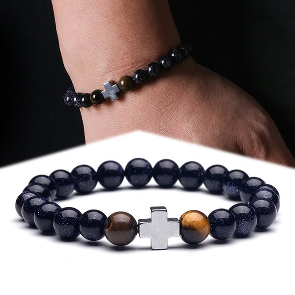 Simple Cross Natural Stone Beads Strand Religious Bracelets for Men Homme Male Women 2019 Casual Men's Bracelets Accessories