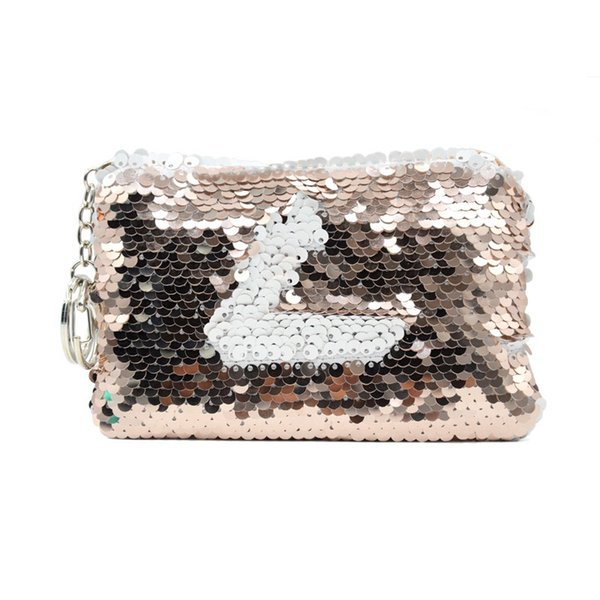 Sequin Coin Purse RTS 3COLORS Colourful Women Letters Cosmetic Changeable Hand Bag Personalized Sequin Handbag With Keychain