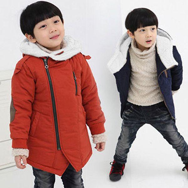 Осень Зима Мальчики пальто с капюшоном хлопка-проложенный Повседневная Дети Толстые куртки для мальчиков 3-12Y малышей Подростки Дети Верхняя одежда