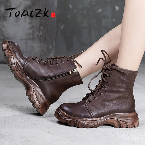 casual thick-soled women's boots, autumn new literary series with women's shoes, low-barrel short boots