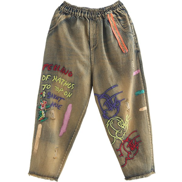 Retro Literary Style 9-minute Pants Made of Old Embroidery Sticking Cloth with Loose Waist and Hair Edge