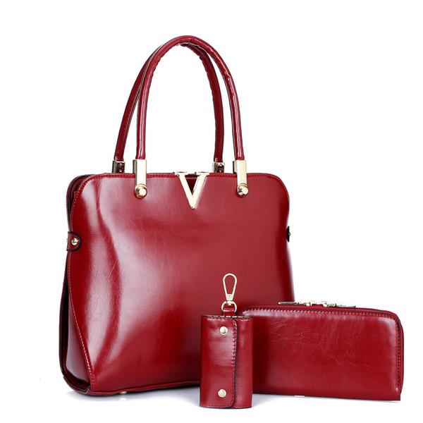 3pcs ensemble européen américain de la mode tendance été commerce extérieur V mot taille taille épaule portable enfant femme sac + portefeuille + étui clé