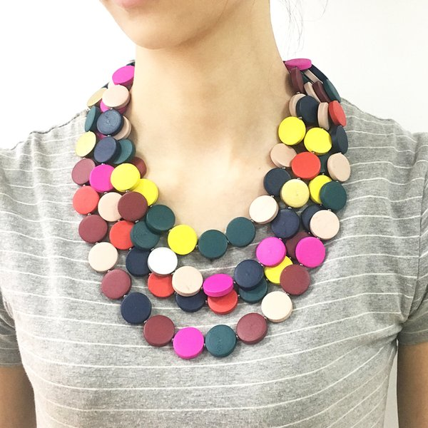 luxury women's female's ladies punk Exaggerated Multi-layer necklace bohemian Neck hoop necklaces sweater chain