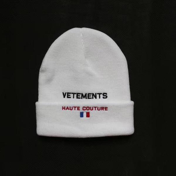 Vetements Bonnets Haute Couture broderies chapeaux d'hiver pour femmes hommes bonnet hip hop garçons filles casquettes dames cachemire crâne harajuku punk 2018